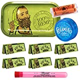Zig Zag Organic Hemp Metal Rolling Tray, 6 Packs of Zig Zag 1 ¼ Size Organic Hemp Rolling Papers, 78mm Zig Zag Roller, and Beamer 3-Piece Acrylic Grinder + Beamer Smoke Stickers