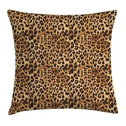 Ambesonne Brown Throw Pillow Cushion Cover, Leopard Print Animal Skin Digital Printed Wild African Safari Themed Spotted Pattern Art, Decorative Square Accent Pillow Case, 24 X 24 Inches, (Party Art Throw Pillow)