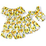 IFFEI Mommy and Me Matching Off Shoulder Sunflower Print Tassel High Waist Romper Jumpsuit for Summer