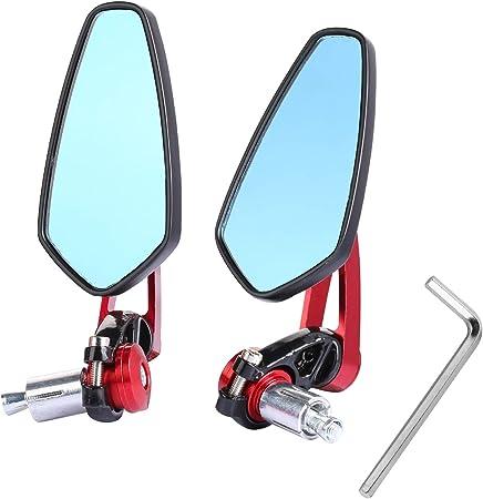 Yizhet Ein Paar Universal Motorrad Rückspiegel 7 8 Zoll Lenker Cnc Aluminium 360 Drehbar Winkel Verstellbare Außenspiegel Für Standard Lenker Schwarz Rot Auto