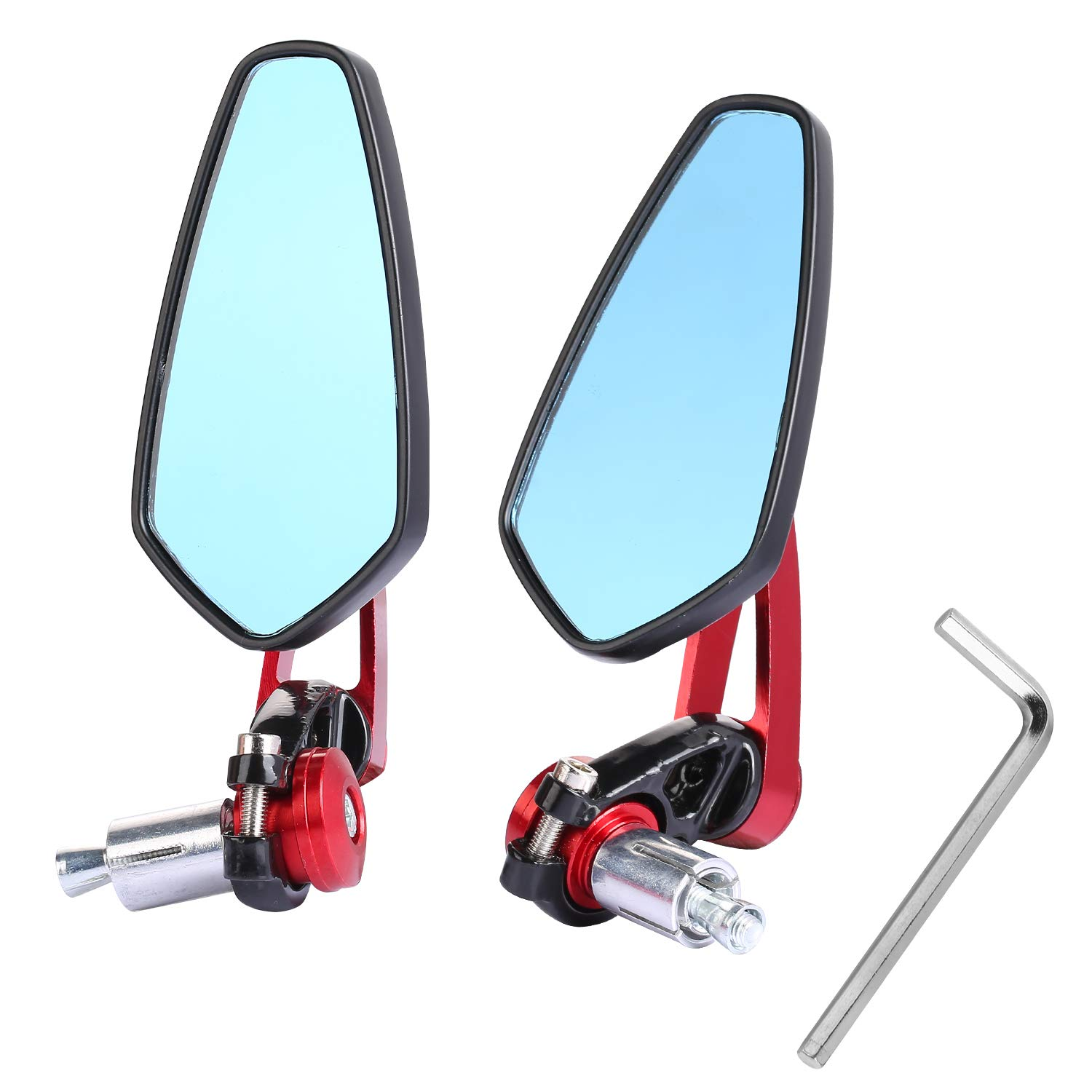 "Yizhet Universal Motorcycle Bar End Mirrors Rear View Handlebar CNC 7/8"" 22mm Aluminum Alloy Side Mirrors Handlebar End Mirrors - 1 Pair, Black (1 Pair Red)"