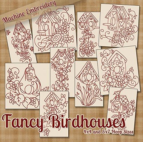 Fancy Birdhouses Redwork Embroidery Machine Designs on CD - Multiformat Pattern CD