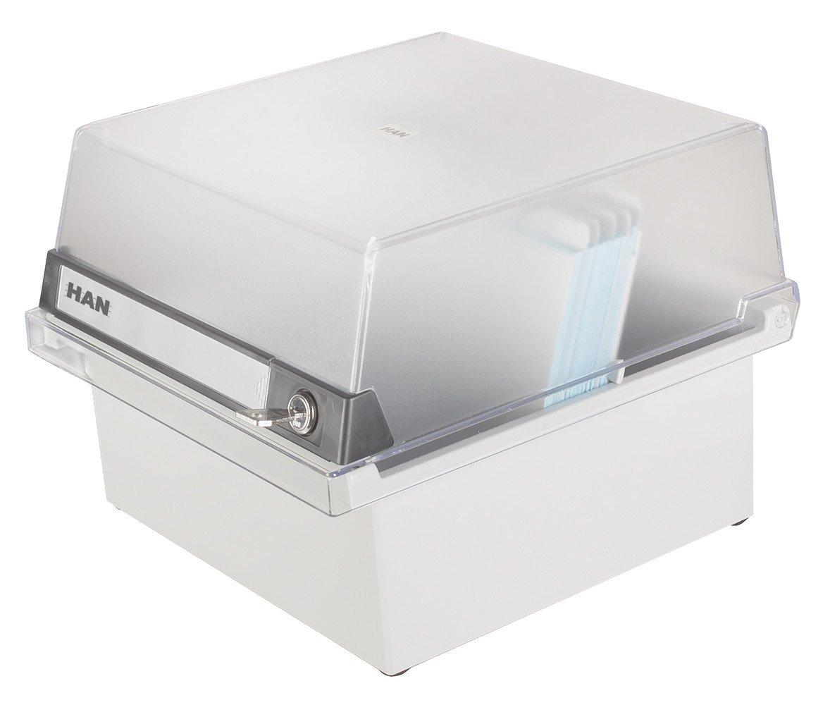 HAN 965-S-631, boîte à fiches Collection spéciale A5 horiz., design innovant et attrayant, pour 800 fiches, avec serrure, couvercle amovible et étiquette d'indexation grand format, gris clair translucide HAN965SGR Fichier porte-fiches bac à fiches