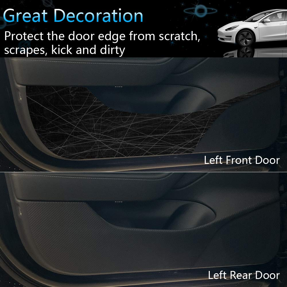 Upgraded Version 4PCS Car Carbon Fiber Anti-Kick Sticker Pad Protector Mat ROCCS Tesla Model 3 Door Anti Kick Vinyl Wrap