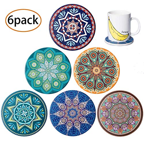 6 Piece Absorbent Ceramic Stone Coasters for Drinks, Water-absorbing Porcelain Coaster with Cork Backing to Protect Furniture from Damage