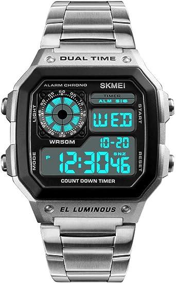 Relojes Digital Cuadrado Multifuncional Relojes Hombre Cronómetro Alarma Relojes Acero Inoxidable Plata Casual: Amazon.es: Relojes