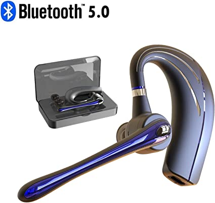 Handsfree Bluetooth Earpiece V5.0 in Ear with Stereo Mic for iPhone Android Cell Phones Business//Workout//Driving Blue HonShoop Wireless Bluetooth Headset