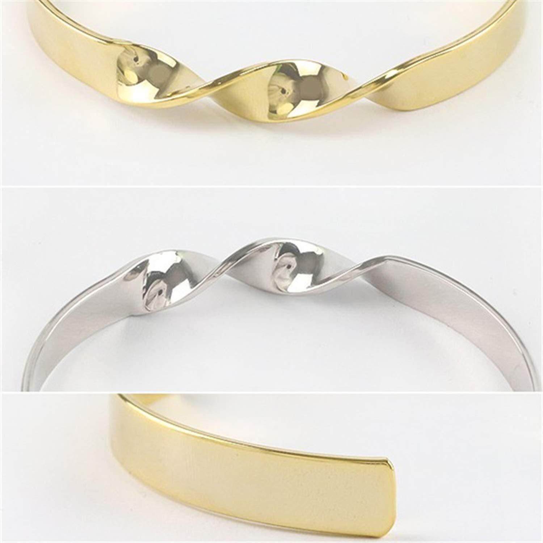 minimalist twist burnished gold silver metal bracelet lady bracelets fine bracele,Platinum Plated by Rankei bracelets (Image #6)