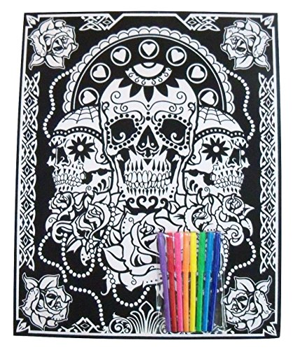 Darice Color-in Poster with 8 Markers ~ Day of the Dead (Dia de los Muertos; 16