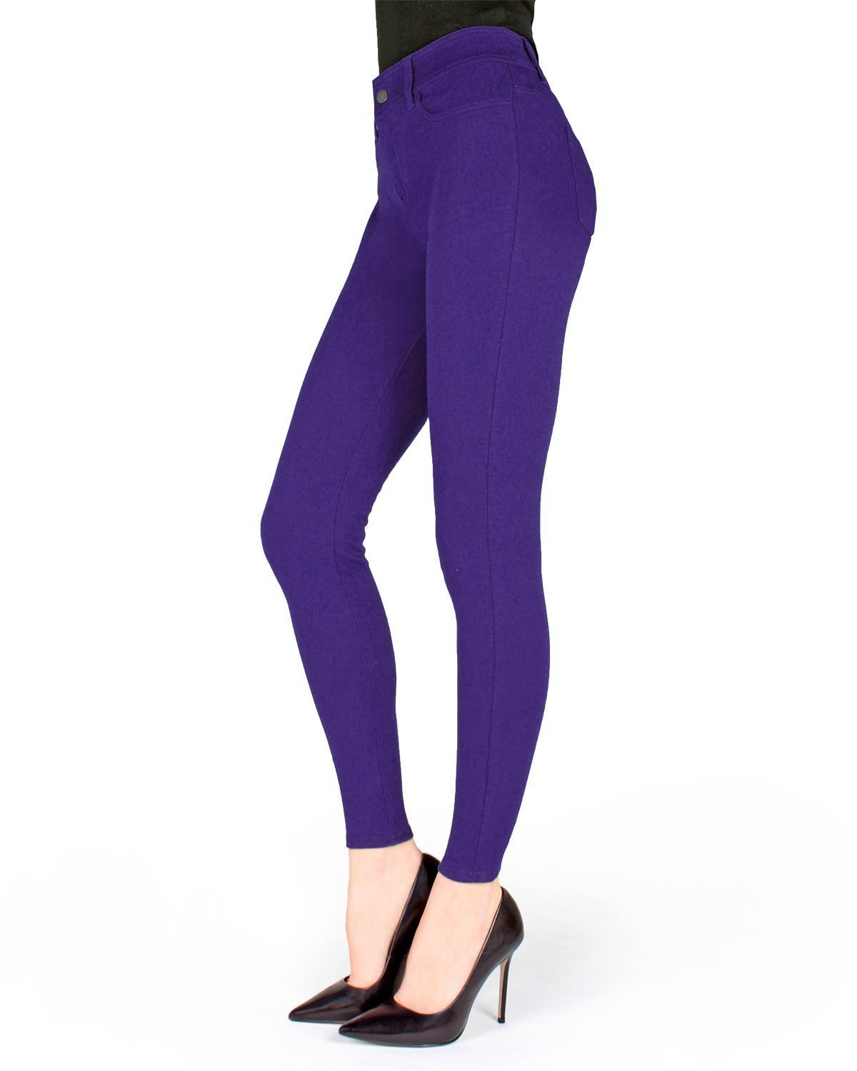 MeMoi Pants-Style Ponte Leggings | Women's Premium Fashion Leggings Purple Grape MQ 014 X Large
