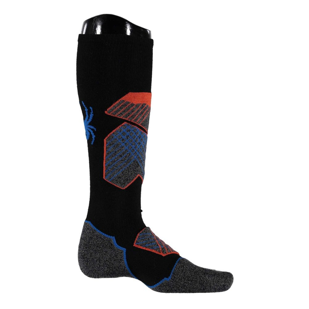 Spyder Men's Explorer Sock, Black/Burst/French Blue, Medium