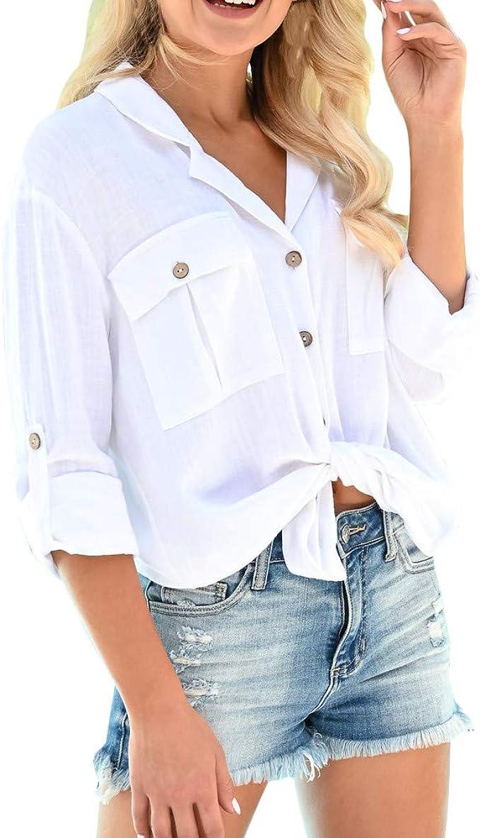 Qingsiy Camisetas Mujer Manga Corta Tallas Grandes Originales Mujeres Algodón Lino Camisa de Manga Larga Ocasional sólida Blusa Suelta Botón Tops Ropa de Moda Casual para Fiesta Playa: Amazon.es: Ropa y accesorios