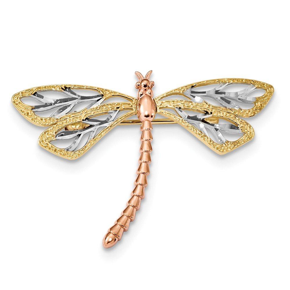 14k Yellow & Rose w/Rhodium Polished & Satin Dragonfly Pin