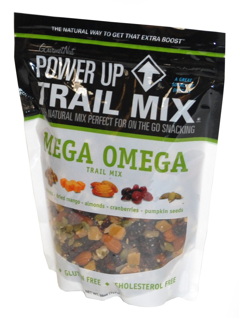 GourmetNut Power Up Trail Mix, Mega Omega Trail Mix 26 oz by Gourmet Nut