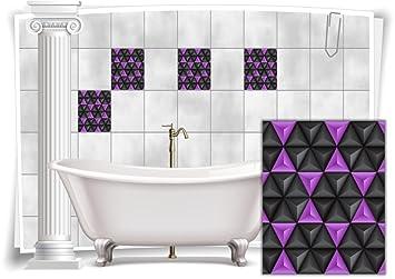 Fliesenaufkleber Fliesenbild Fliesen Aufkleber Mosaik Lila Kachel Bad WC  Küche Deko Kachel Badezimmer, 8 Stück