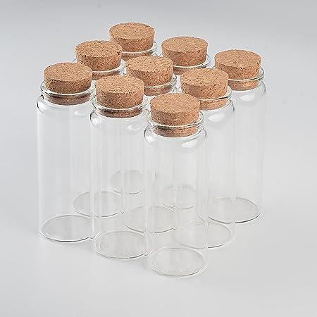 47 x 70MM IDKII 10Pcs Mini Bouteilles en Verre avec Bouchon 80ML Fioles Bocaux Bouteilles Transparent
