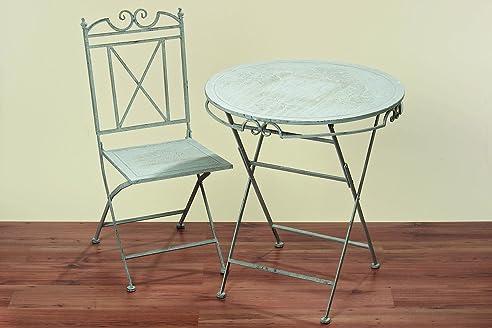 Tisch Set Jamie Aus Metall Ein Tisch + Zwei Stühle, Farbe Grau Gartenmöbel