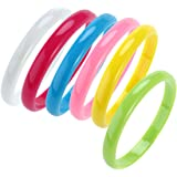 BESTOYARD Plastic Bangle Bracelets Candy Color Bracelet Party Favors Pack for Birthday Party 6pcs (Random Color)