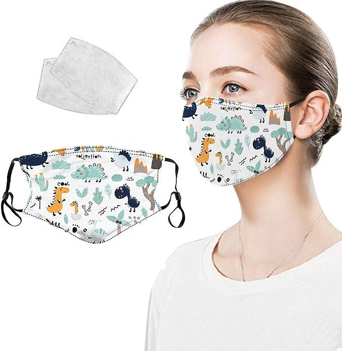 Lulupi Mundschutz Multifunktionstuch 3d Dinosaurier Motiv Maske Animal Print Waschbar Wiederverwendbar Stoffmaske Baumwolle Mund Nasen Bedeckung Atmungsaktiv Tiermotiv Bandana Halstuch Schals Bekleidung