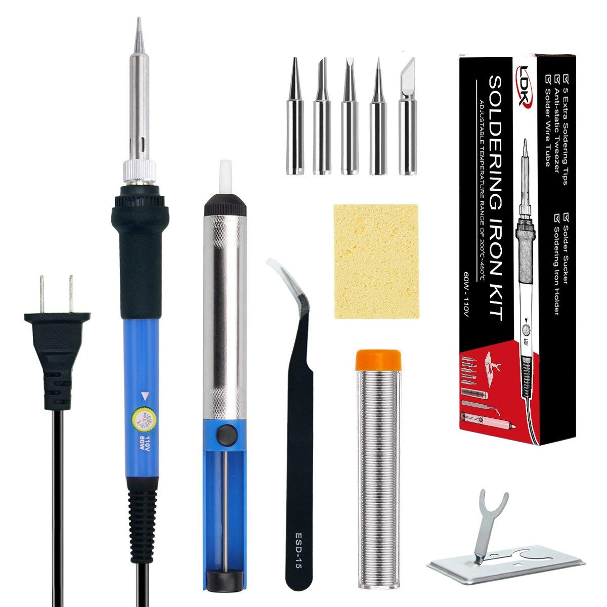 LDK Soldering Iron, Soldering Iron Kit Electronics 60W 110V Adjustable Temperature Welding Tool with 5pcs Different Tips, Stand, Tweezers, Sponge, Desoldering Pump and Solder Wire Tube (Blue)