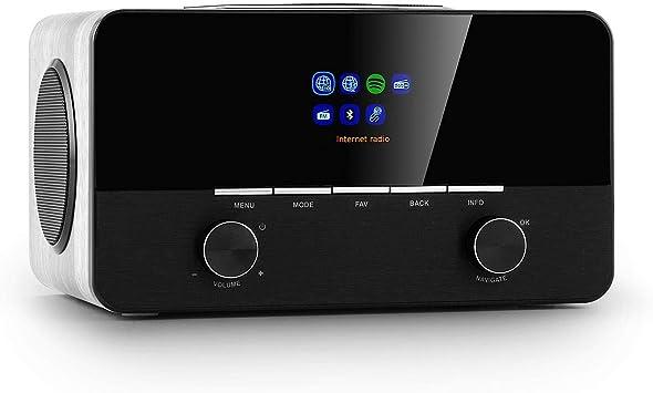 auna Connect 150 WH Internet 2.1 , numérique , Wifi , réseau , DABDAB+FM RDS , Spotify , USB MP3 , AUX , 2 enceintes , réveil , arrêt auto ,