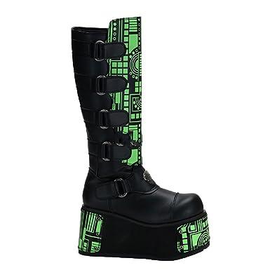 Demonia Techno-854UV - UV-reaktive Gothic Industrial Cyber Mega Plateau Stiefel Schuhe 36-45, US-Herren:EU-38 (US-M6)