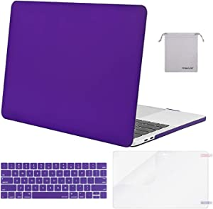 MOSISO MacBook Pro 13 inch Case 2019 2018 2017 2016 Release A2159 A1989 A1706 A1708, Plastic Hard Shell Case&Keyboard Cover&Screen Protector&Storage Bag Compatible with MacBook Pro 13, Dark Orchid