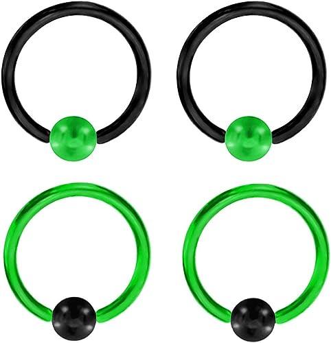 Belly Nipple Ring 1 Pair 14g 1//2 Black Titanium Captive Hoop Rings Septum