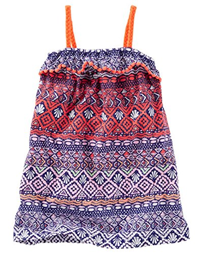 OshKosh Little Girls' Printed Pom-Pom Ruffle Dress (2t)