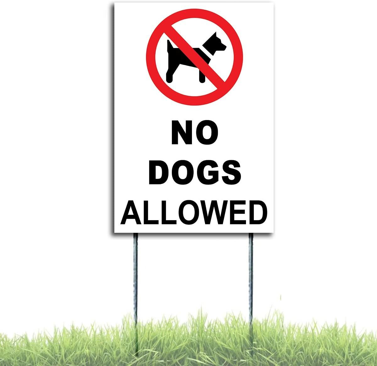 """NO DOGS ALLOWED  8/""""X12/"""" Plastic Coroplast Sign with Stake  NEW"""