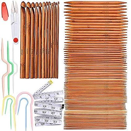 Exquiss Knitting Needles Set 75 Pcs 15 Sizes Bamboo Double Pointed Knitting Needles Set 12 Pcs 12 Sizes Crochet Hooks Set 4 Pcs 4 Sizes Cable