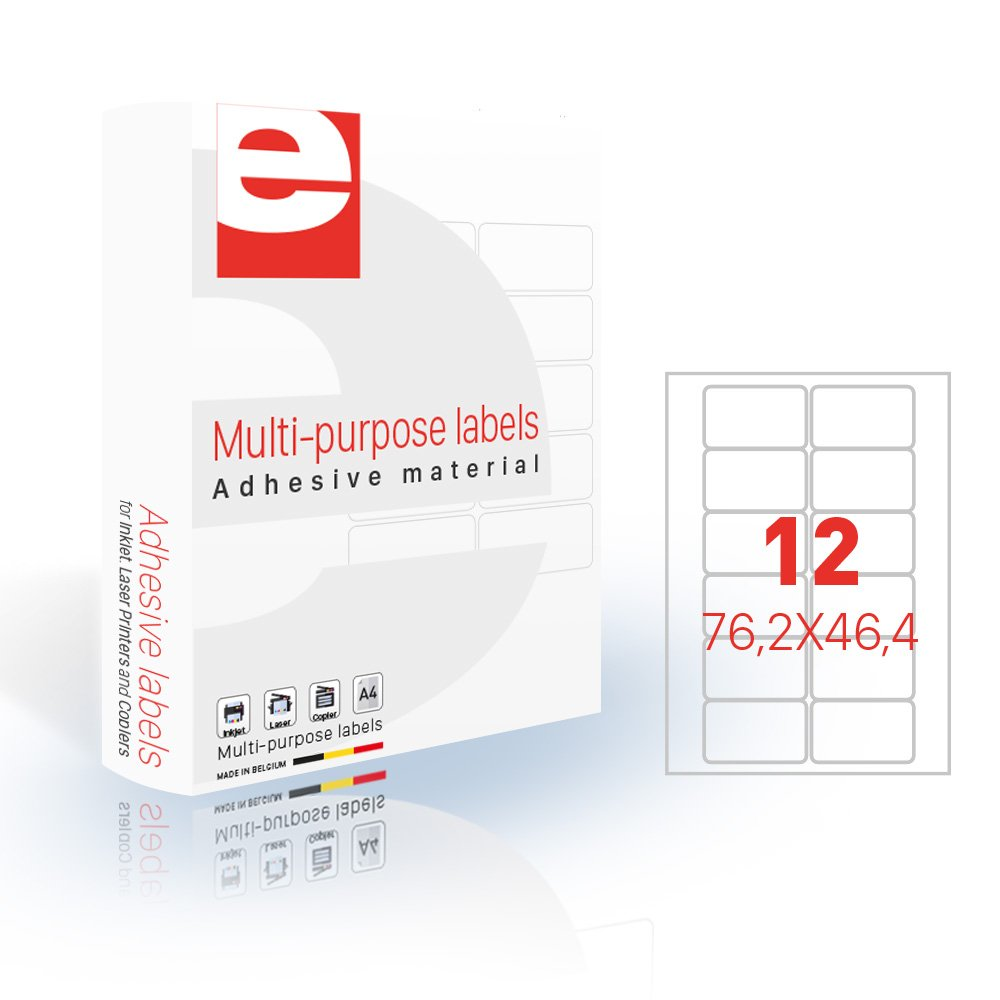 Etiquetas (76,2 Caja x 46,4 mm (12/hoja A4) – Caja (76,2 de 200 hojas A4 – blanco Mat- jetlascop 32300535 1a59ea