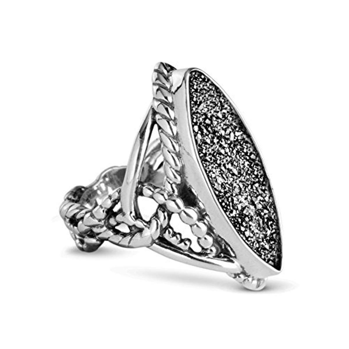 Carolyn Pollack Sterling Silver Drusy Platinum-Colored Ring - Size 9 by Carolyn Pollack