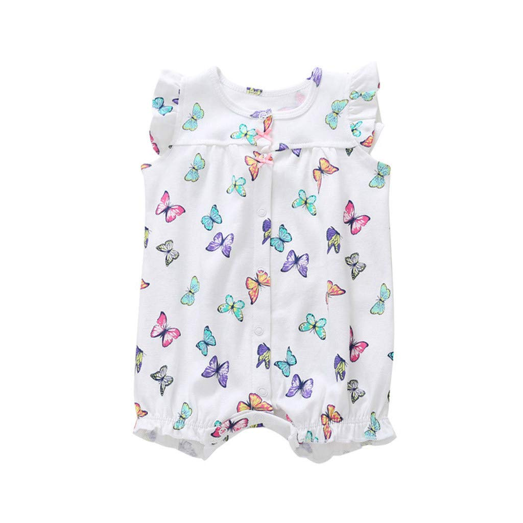 NUWFOR Baby Infant Girl Boy One-Pieces Cartoon Striped Printed Romper Bodysuit Clothes(White,18-24 Months)