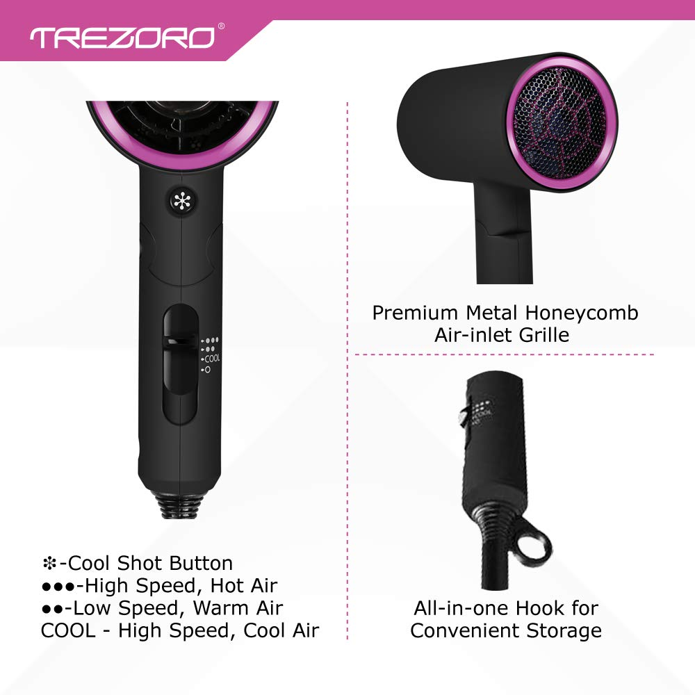 Professional Ionic Portable Folding Hair Dryer, Best 1500W Ceramic Tourmaline Blow Dryer with comb attachment, Compact Small Size Lightweight for Travel, Quiet Mini Hairdryer – Deluxe Soft Touch Body by TREZORO (Image #6)