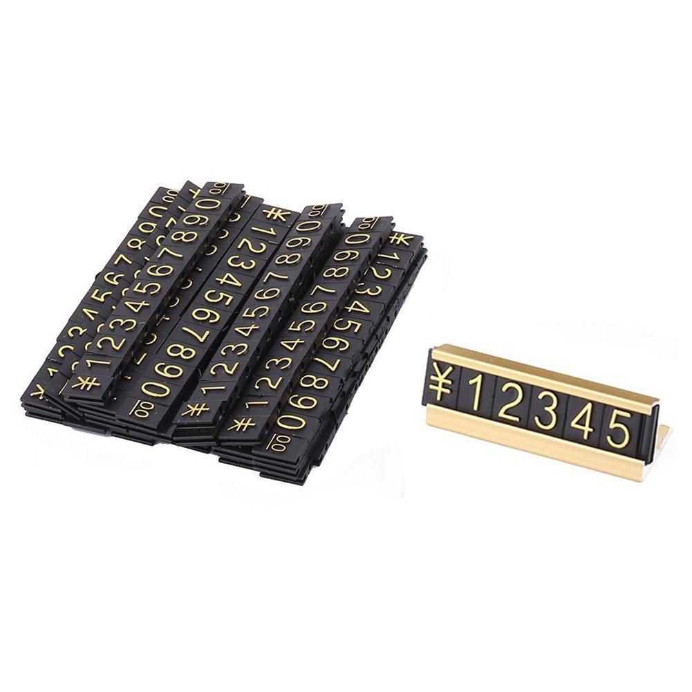 arabische Ziffern zusammen Preisschilder RETYLY 19 Gruppen Gold-Ton Metall