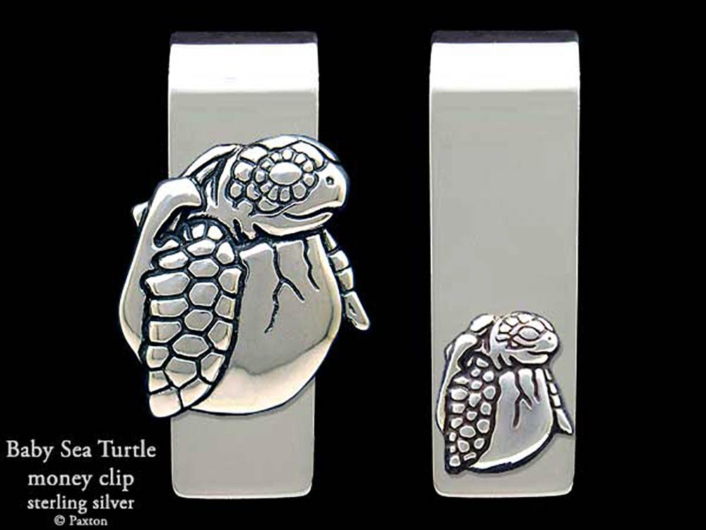 Baby Sea Turtle Money Clip in Solid Sterling Silver Hand Carved, Cast & Fabricated by Paxton