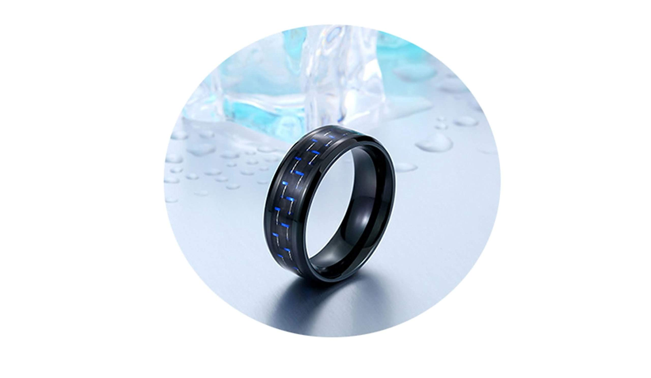 Bishilin 4mm Stainless Steel Wedding Bands Mens Tungsten Carbon Fiber Black Engagement Rings Size:9