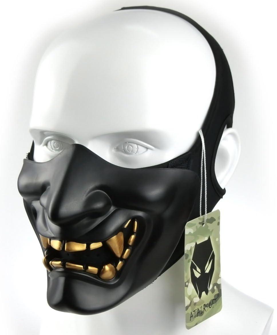 Atairsoft Máscara para disfraz de halloween, cosplay, BB, demonio, diablo, monstruo, kabuki, samurái, hannya, oni, máscara que cubre la mitad de la cara, para airsoft, películas