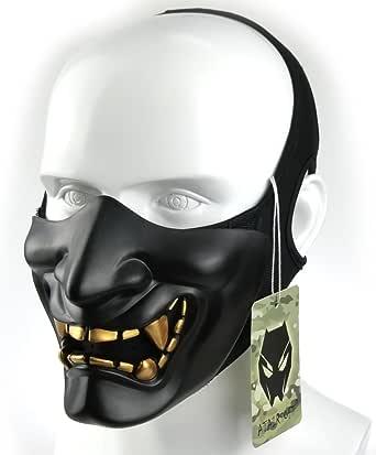 ATAIRSOFT Halloween Costume Cosplay BB Gun Evil Demon Monster Kabuki Samurai Hannya Oni Half Cover Airsoft and Prop Mask