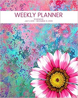 Amazon Fr Weekly Planner Pink Flower 18 Months July 1