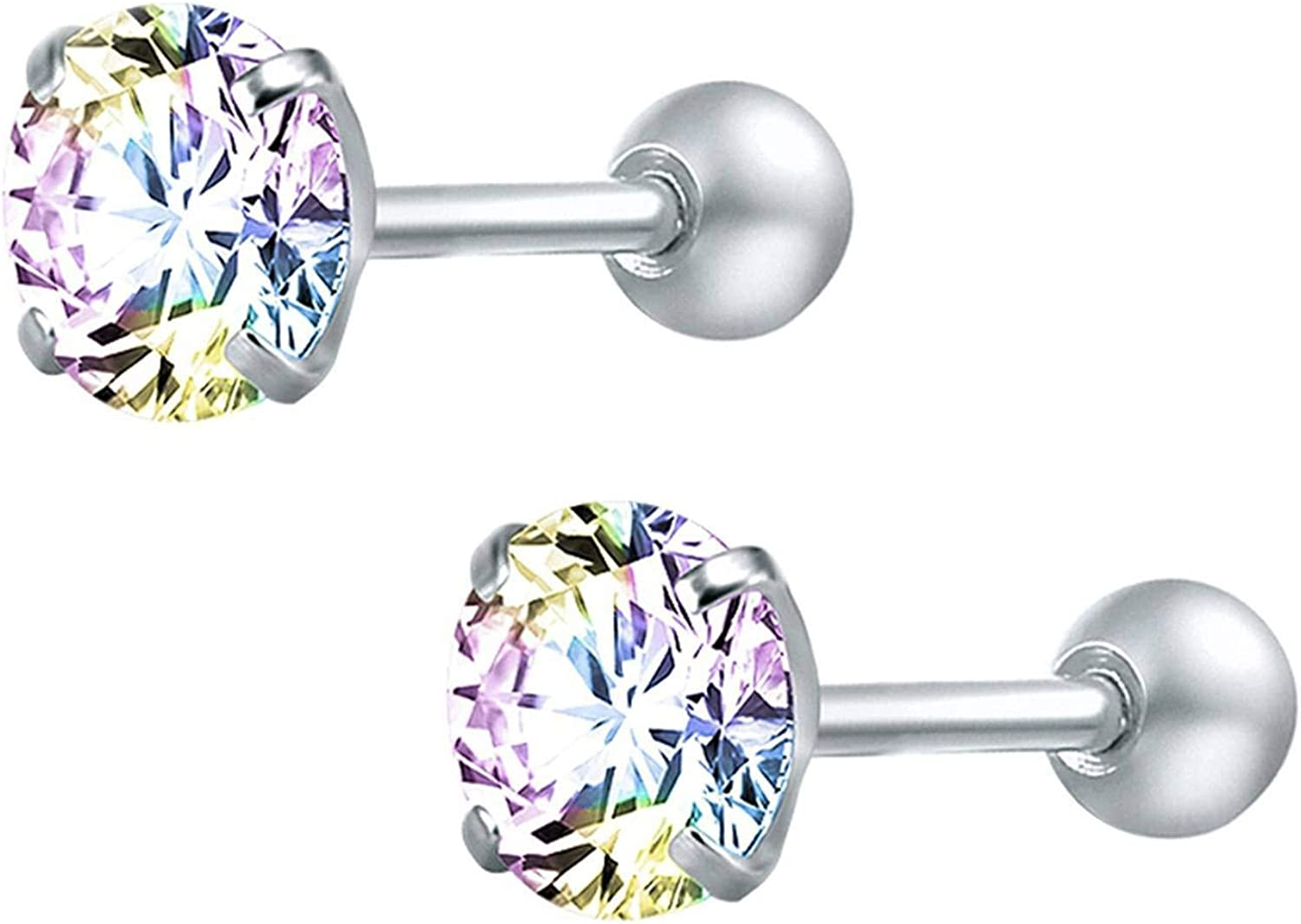 Tiny Round Crystal Studs Earrings Screw Ball Stainless Steel Female Earrings Mini,Pink Round,4mm