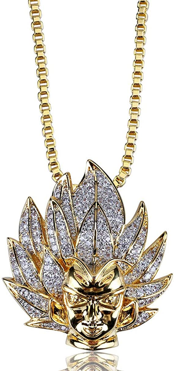 Iced out bling fashion cadena-micro angel oro