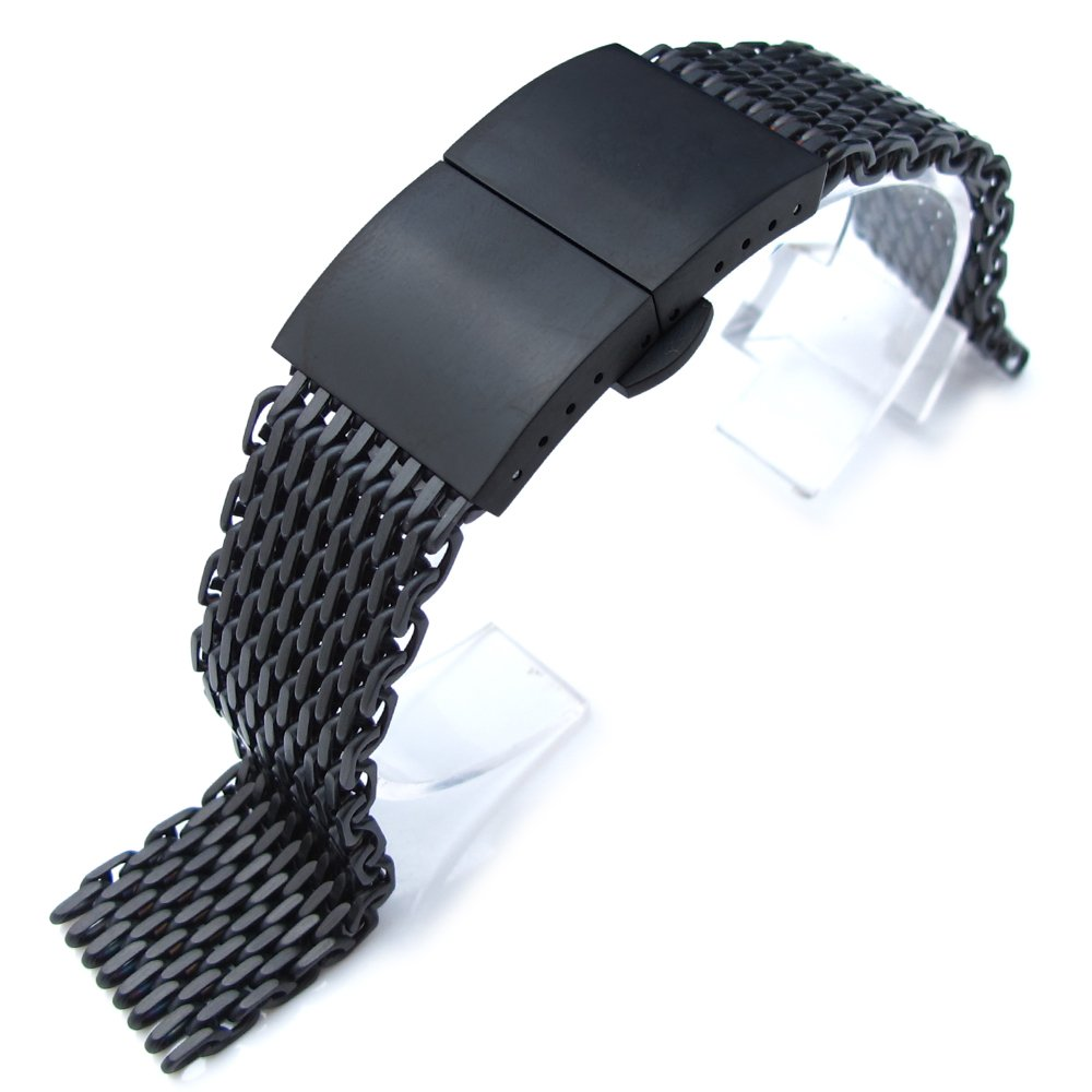 20mm Ploprof 316 SS Wire ''SHARK'' Mesh Milanese Watch Band, Dome Deployant, Black, BB