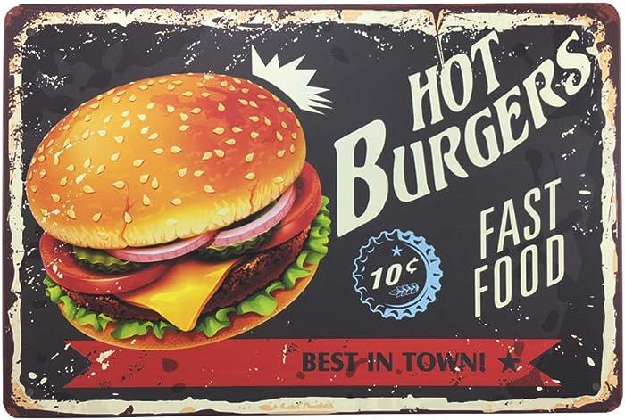 "Vintage Style Tin Sign - HOT BURGERS FAST FOOD - Bar Pub Garage Diner Cafe Home Wall Decor Art Tin Signs Vintage, 8""W x 12""H"