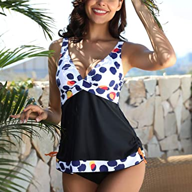 f9310b6da929 Rawdah-- Signore Dente di Sega Prospettiva Bikini Costume da Bagno Donna  Due Pezzi Costume Intero Taglie Forti- Costumi da Bagno Tankini Top Stampa  con ...