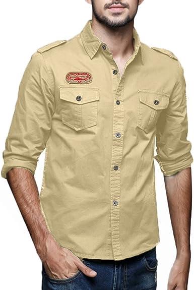 Camisa De Hombre Casual Fit Cargo Festiva Ropa Slim Cargo ...