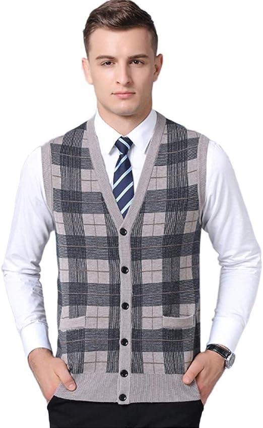 QJKai Suéter de Chaleco de Punto de Cuello en V de Ajuste Relajado for Hombre Camisetas de Tirantes sin Mangas Chaleco de suéter de Cuadros Suaves clásicos Chaleco Chaleco con Botones: Amazon.es: