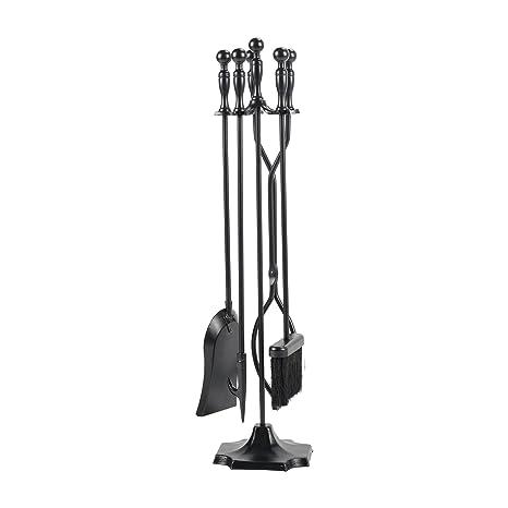 pinty utensilios de chimenea Hierro forjado 5 piezas Juego de herramientas: cepillo chimenea estufa Pit