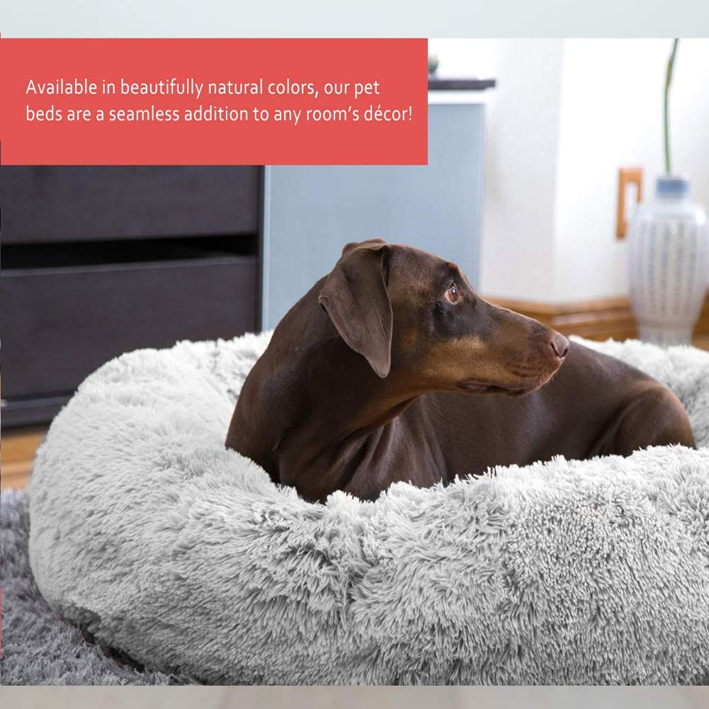 JUZIPS Pet Bed,Fluffy Faux Fur Dog Bed Sofa Donut Calming Pet Bed Cushion,with Removable Cover,Washable Anti-Slip Bottom